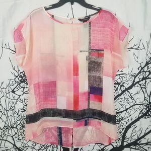 WHBM | Pink Short Sleeve Sheer Block Color Blouse